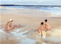Evelina, Mirabel and Alice on Bamburgh Sands (Northumberland) - William Russell Flint
