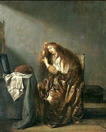 Woman Combing Her Hair - Pieter Codde