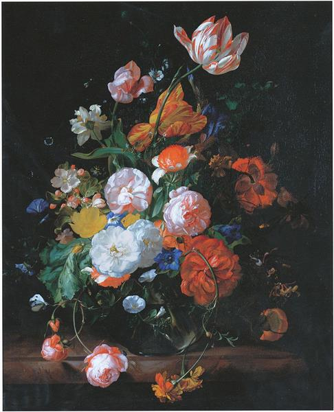 Roses Tulips And Other Flowers In A Glass Vase On A Marble Ledge