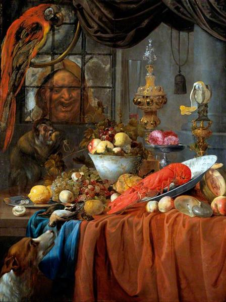 Still Life with Fruit, Lobster and Silver Vessels, 1670 - Willem van Aelst