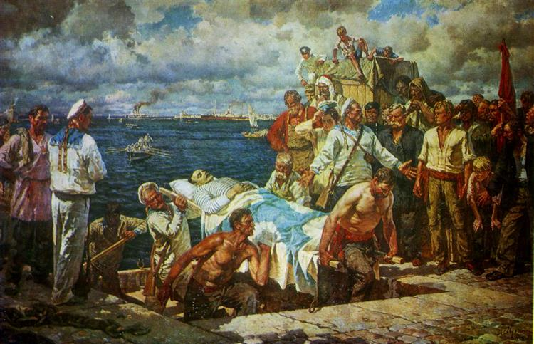 The Rebellious Potemkinites Take the Body of the Murdered Vakulenchuk Ashore, 1949 - Leonid Muchnyk
