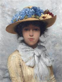 Woman in White Dress and Straw Hat - Charles Sprague Pearce