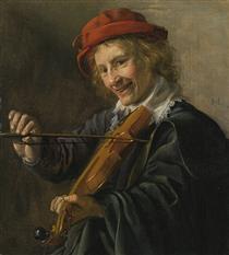 An Interior with a Violinist - Ян Минсе Моленар