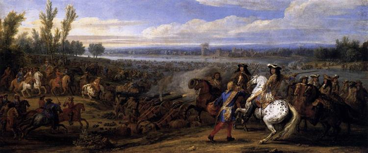 Crossing the Rhine, 1672 - Adam van der Meulen