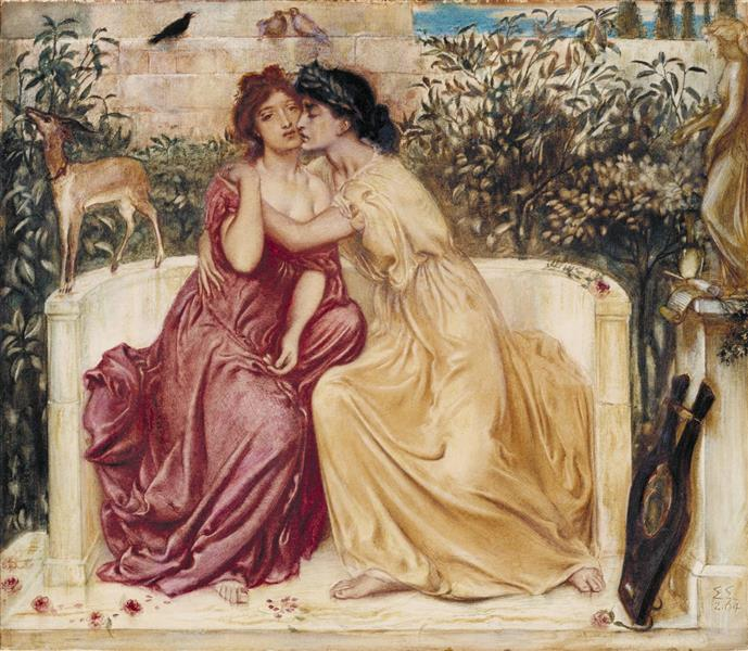 Sappho and Erinna in a Garden at Mytilene, 1864 - Simeon Solomon