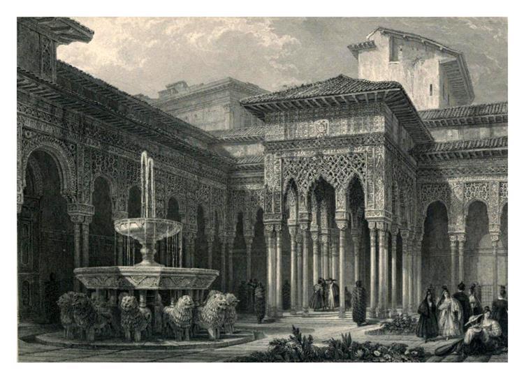 El Patio De Los Leones 1833 David Roberts - David Roberts