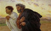 the Disciples Peter and John Running to the Tomb on the Morning of the Resurrection - Eugène Burnand