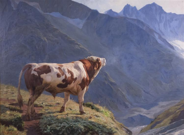 bull in the Alps, 1884 - Eugène Burnand