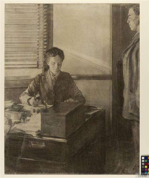 Dr. Flora Murray Working at Her Desk Observed by a Unnamed Man to Her Side., 1918 - Austin Osman Spare