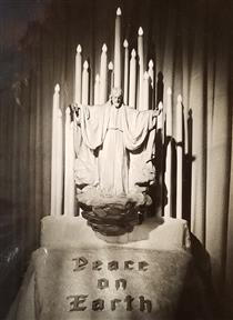"""Carved Maple-wood Figure of Jesus Christ Ascending into Heaven 38"""" X 38""""; as Seen in 1945. - Joseph Urbania"""