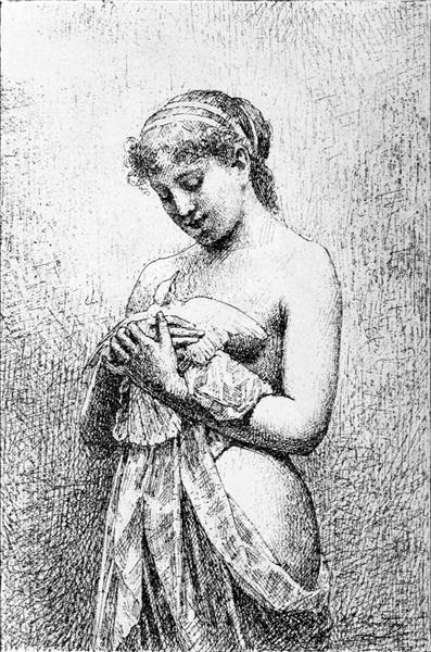 Jeune Fille À La Colombe - Alexandre-Jacques Chantron
