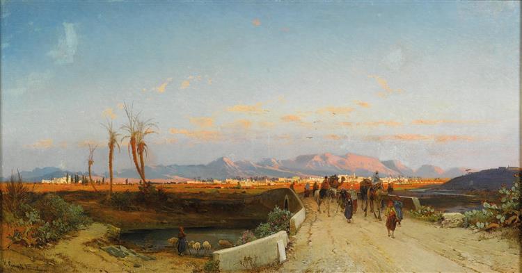 Nicosia, Zypern, Signiert, Bezeichnet H. Corrodi Nicosia Cyprus, Öl Auf Leinwand, 64 X 118 Cm, 1880 - Hermann David Salomon Corrodi