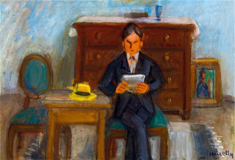 Man Reading in the Studio (Self Portrait), 1930 - 1939 - Kmetty János