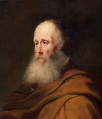 Bearded Old Man Wearing a Brown Cloak - Jan Lievens