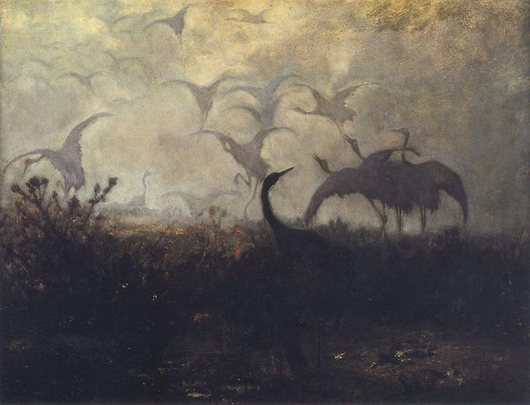 Flight of Cranes, 1870 - Юзеф Хелмоньский
