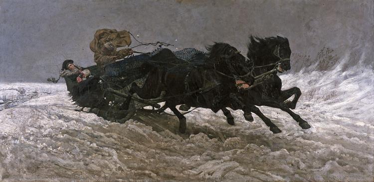 Return from a Ball (Sleigh Ride), 1879 - Józef Chełmoński