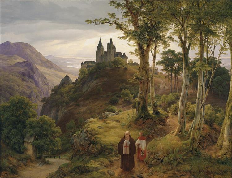 Romantische Landschaft Mit Klosteranlage, 1834 - Karl Lessing