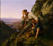The Robber and His Child - Carl Friedrich Lessing