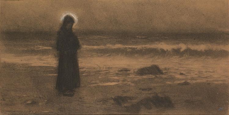 Kontemplace, Mnich na mořském břehu - Jakub Schikaneder