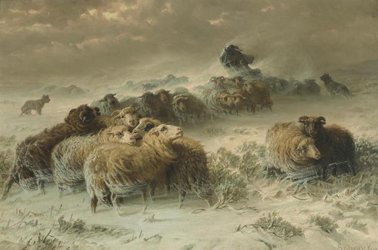 A Shepherd with His Flock in a Snowstorm - August Friedrich Schenck