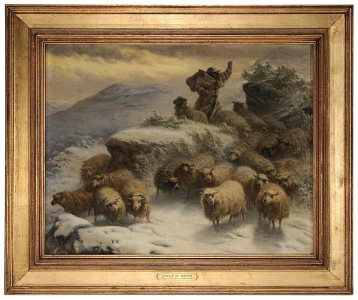 Sheep and a Herder in a Winter Landscape - August Friedrich Schenck