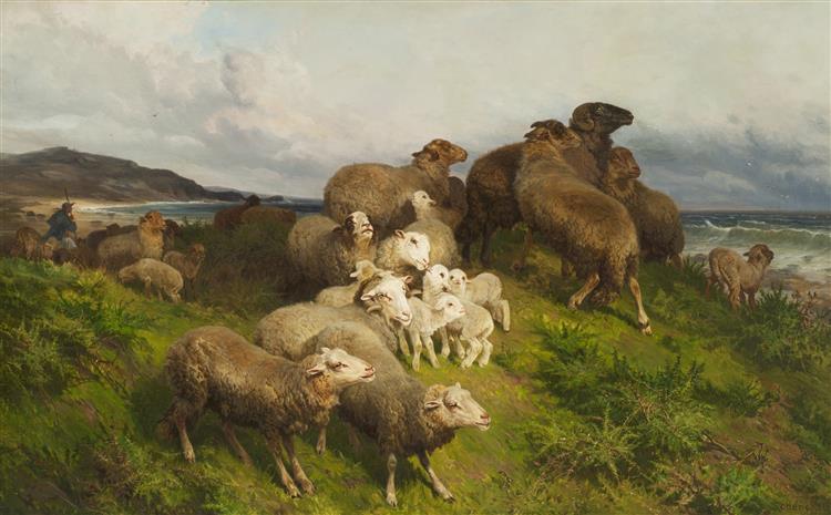 SHEEP IN A MEADOW, 1865 - August Friedrich Schenck