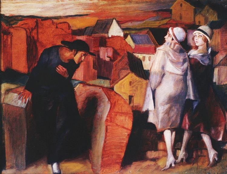 A Meeting. Jewish Youth and Two Women in the Town Alley, 1920 - Bruno Schulz