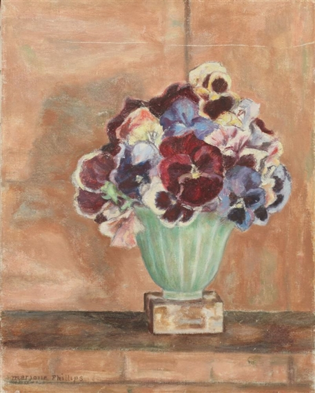 PANSIES IN ALABASTER VASE - Marjorie Acker Phillips