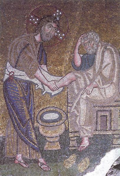 Christ Washing the Feet of Saint Peter, c.1056 - Byzantine Mosaics