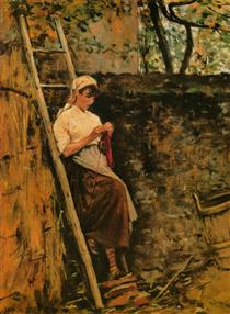 Country Girl Leaning Against a Ladder - Silvestro Lega