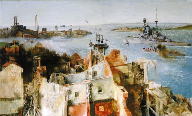 HMS 'Revenge' Leaving Harbour, 1942 - Richard Eurich