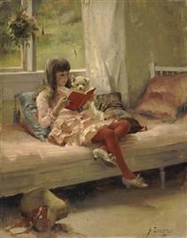 Good Friends (portrait of the Artist's Sister Bertha Edelfelt) - Альберт Эдельфельт