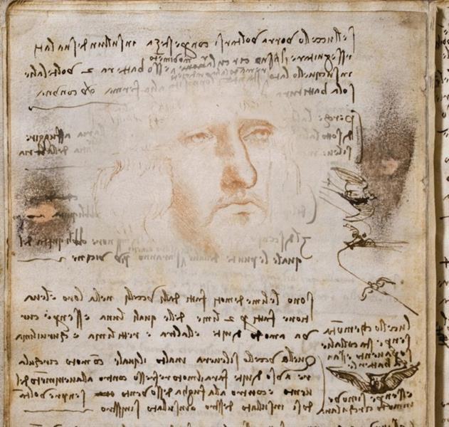 Self portrait on the Flight of Birds Codex, c.1485 - Leonardo da Vinci