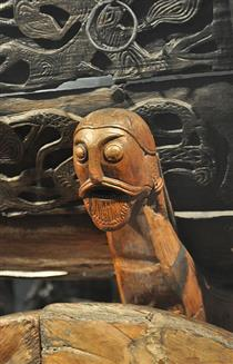 A Detail of the Carved Four Wheel Wooden Cart from Oseberg Ship - Viking art