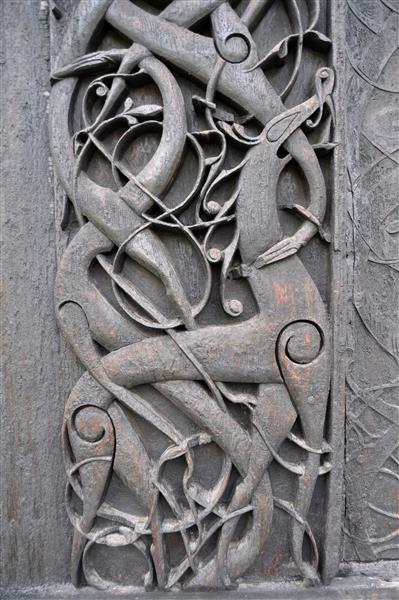 Carving on the Urnes Stave Church, c.1100 - Viking art