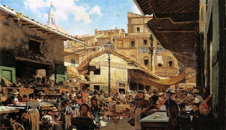 Mercato Vecchio in Florence, 1882 - 1883 - Telemaco Signorini