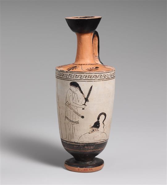Terracotta Lekythos (oil Flask), c.460 BC - Ancient Greek Pottery