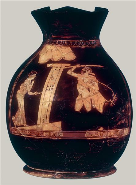 Terracotta Oinochoe, Chous (jug), c.420 BC - Ancient Greek Pottery