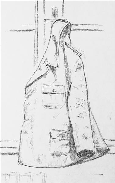 Sketch of my uniform at the window (Marshal Tito Barracks, Sarajevo, 13.2.1991) - Alfred Freddy Krupa