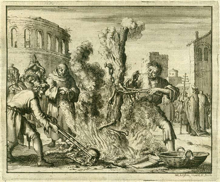 Burning of Arnoldus, Teacher from Brixen, Rome, AD 1145 - Jan Luyken