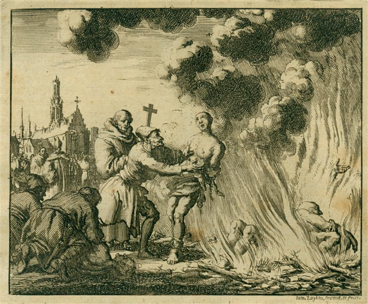 Burning of Many Christians Called Publicans, France and England, AD 1182, 1685 - Jan Luyken