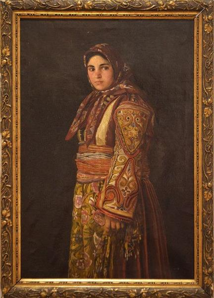 Radka Hadzhinikolova in a Macedonian Costume, 1880 - Jan Václav Mrkvička