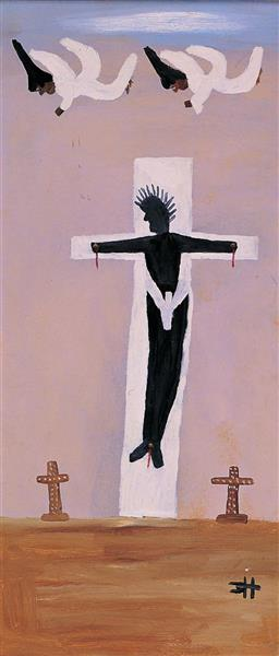 Black Christ on Cross, c.1972 - Clementine Hunter