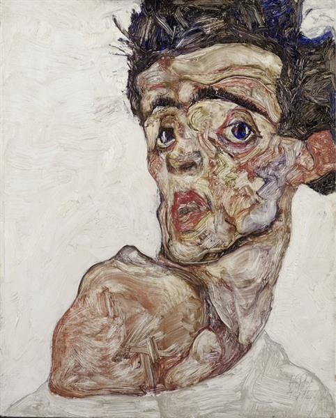 Self-Portrait with Raised Bared Shoulder, 1912 - Egon Schiele