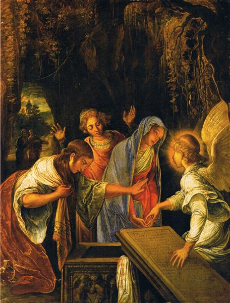 The three Marys at the tomb of Christ - Adam Elsheimer