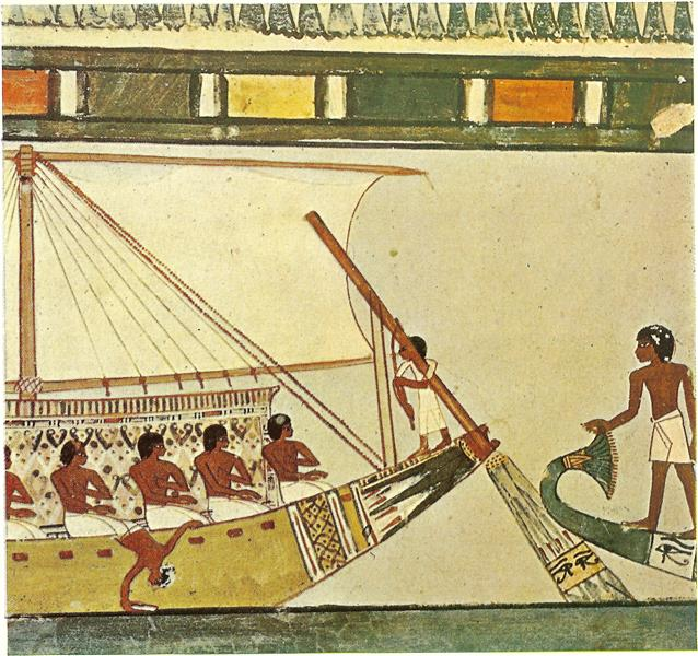 Funeral Procession to Abydos, a Similar Funerary Boat is Believed to Have Carried the Body of Menna and His Wife to Abydos, the Place Consecrated to the God Osiris, c.1422 - c.1411 BC - Ancient Egypt