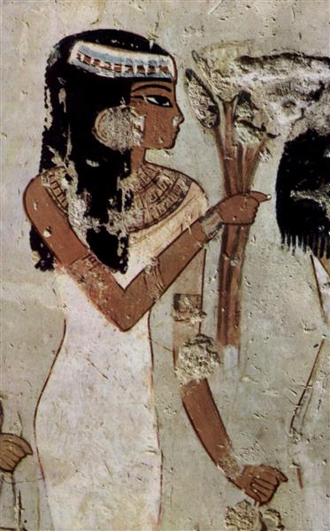 Girl with Flowers, c.1422 - c.1411 BC - Ancient Egyptian Painting