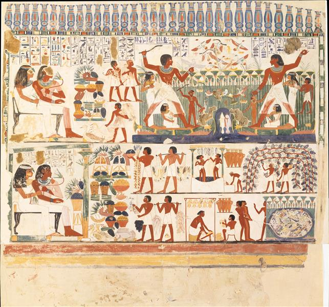 Nakht and Family Fishing and Fowling, Tomb of Nakht, c.1390 BC - Ancient Egypt