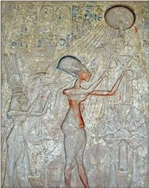 Relief of Akhenaten, Nefertiti and Two Daughters Adoring the Aten - Ancient Egyptian Painting
