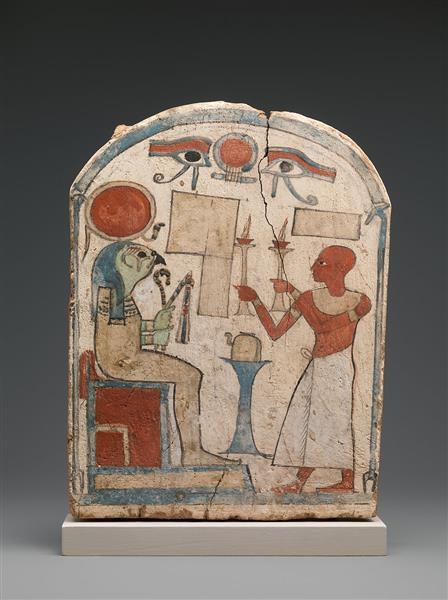 Stela with Man Offering to Re Harakhty, c.712 - c.663 BC - Ancient Egypt